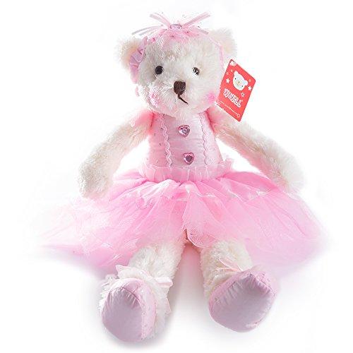 WEWILL Ballerina Teddy Bear Stuffed Animal Cute Soft Toy Plush Creative Doll 15-Inch (Pink)