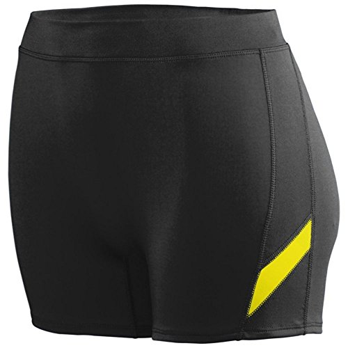 Augusta Athletic Ladies Stride Short, Black/Power Yellow, X Large by Augusta Athletic