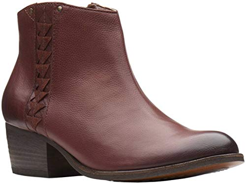 Clarks Women's Maypearl Fawn Fashion Boot, Mahogany Leather, 6.5 M US