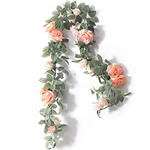 PARTY JOY 6.5Ft Artificial Rose Vine Silk Flower Garland Hanging Baskets Plants Home Outdoor Wedding Arch Garden Wall Decor