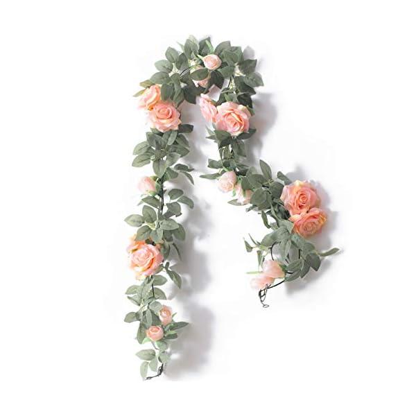 PARTY JOY 2Pcs Flower Garland Fake Rose Vine Artificial Flowers Hanging Rose Ivy Hanging Baskets Wedding Arch Garden Background Decor