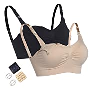 2Pack Seamless Maternity Nursing Bras Wirefree Bralette with Extra Bra Extenders & Clips