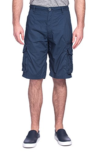Free Planet Mens Designer Relaxed Fit Poplin Printed Cargo Shorts - 100% Cotton - Navy Solid, - Shorts Carpenter Boys