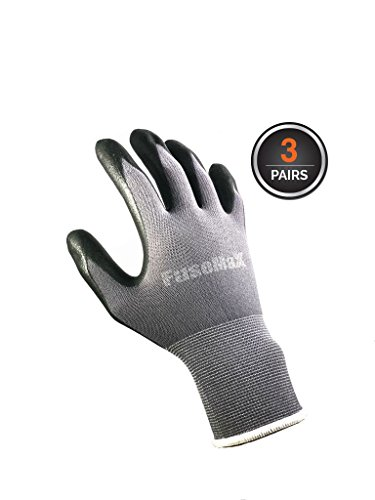 FuseMax Nylon Micro Foam Nitrile Gloves for Work Safety protection light weight work gloves for Men and Women - 3 pairs (Size Large)