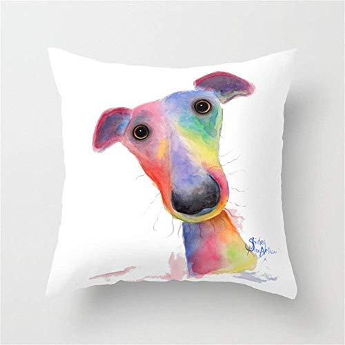 (MedieMo Nosey Dog Whippet Greyhound Hank Cushion Covers Throw Pillow Case 18x18)