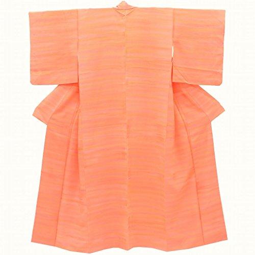 色無地 中古 リサイクル 正絹 一つ紋 自然文様 ぼかし 裄62.5cm オレンジ系 裄Sサイズ 身丈Mサイズ jj1899b