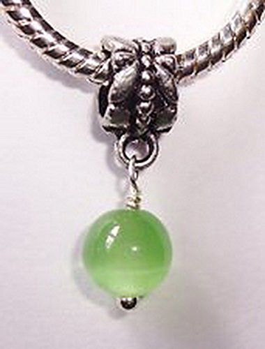 Craft Spot Global Solid Green Cat's Eye Glass Dangle Bead for Silver (519 Eyeglasses)
