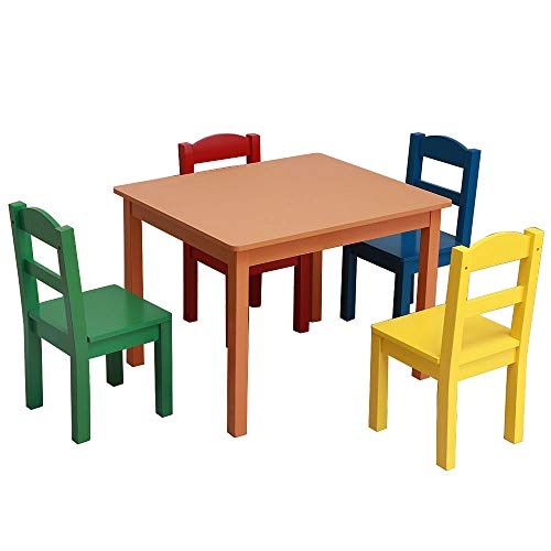 (Festnight 5 Pieces Kids Table and Chairs Set Wood Activity Table with 4 Multi Color Chairs Set 3 Years and Up Age Girls Boys Play Picnic Educational Dining Wooden Table Playroom Furniture)