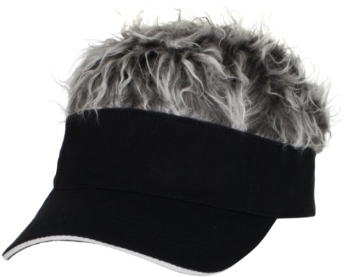 Flair Hair Men's Black Visor and Hair, Grey, One Size (Funny Golf Hat)