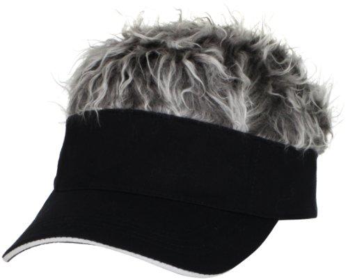Flair Hair Men's Black Visor and Hair, Grey, One (Golf Visors With Hair)