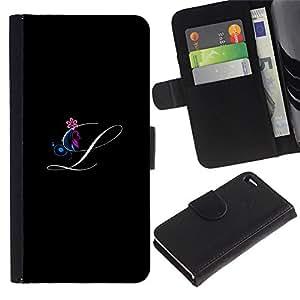 All Phone Most Case / Oferta Especial Cáscara Funda de cuero Monedero Cubierta de proteccion Caso / Wallet Case for Apple Iphone 4 / 4S // Black Initials Letter Calligraphy Text