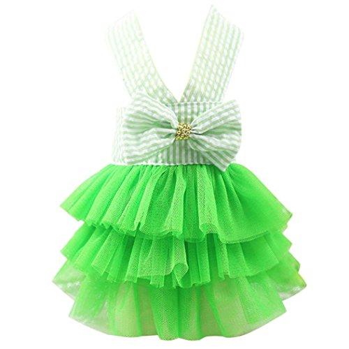 Wakeu Small Dog Girl Dress Pet Puppy Cat Lace Tutu Stripe Vest Skirt Clothes (XS, Green)