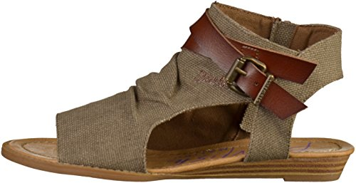 Blowfish Women's Balla Wedge Sandal, Birch Rancher Canvas/Mushroom Dyecut Pu, 6 B(M) US Brown