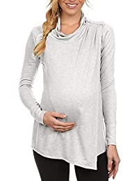 01ac8d8c2cb47 Women s Long Sleeve Cowl Neck Side Open Nursing Wrap Tops Shoulder Zipper  Breastfeeding Blouse