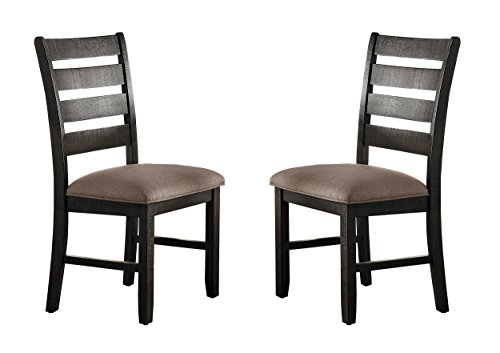 Cheap Homelegance Stevensville Set of 2 Rustic Ladder Back Dining Chairs, Dark Brown
