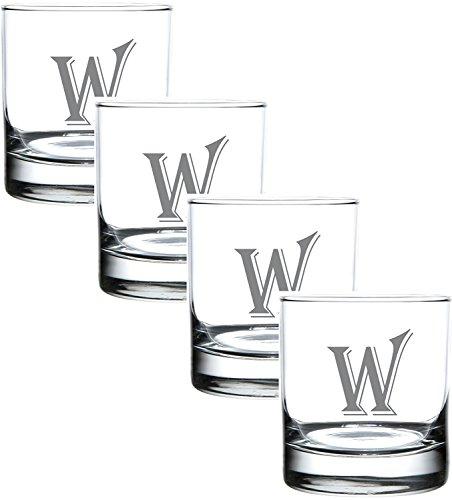 W Monogram Engraved Glass Multi Purpose Beverage Rocks Occasion