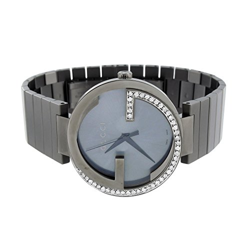 Mens Diamond Gucci Watch Interlocking GG YA133210 Stainless Steel Black 1.25 CT