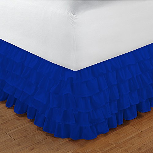 Floris Fashion Queen 300TC 100% Egyptian Cotton Royal Blue Solid 1PCs Multi Ruffle Bedskirt Solid (Drop Length: 17 inches) - Tailored Finish Super Comfy Easy Care (Queen Sheet Set Truffle)