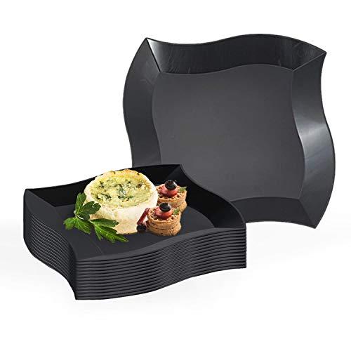 (Elegant Disposable Plastic Dinner Plate Set - 120 Heavy Duty Fancy Wave Black Dinner Plates - 10