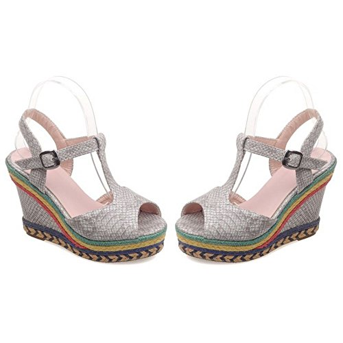 Sandals Wedges Flatform Shoes Women High Platform LongFengMa Peep Gray Heel Toe 0PIn8