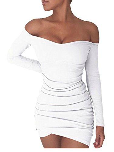 Grand Tang Manches Longues Ruché Sexy Des Femmes De L'épaule Mini-club Robe Moulante Blanche