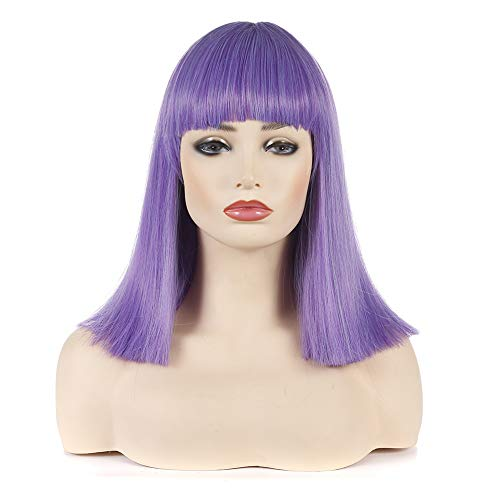Morvally Short Straight Bob Wig Heat Resistant Hair with Blunt Bangs Natural Looking Cosplay Costume Daily Wigs (14 inches, Light Purple) -