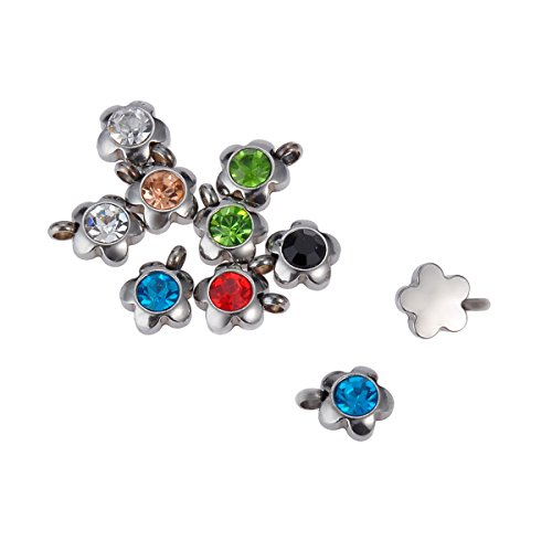 (VALYRIA 10pcs Stainless Steel Colorful Flower Charms Pendant Jewelry Findings 9mmx8mm)