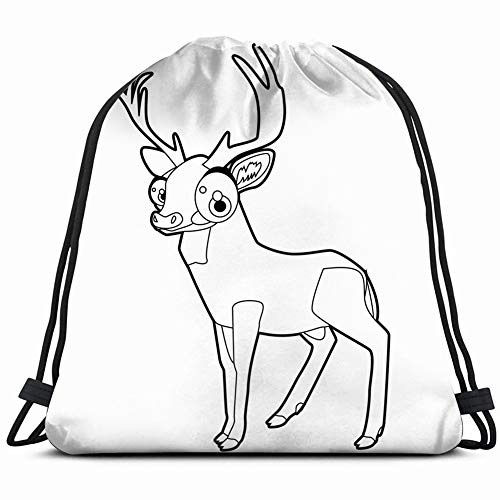 coloring book page funny cartoon comic animals wildlife amusing Drawstring Backpack Gym Sack Lightweight Bag Water Resistant Gym Backpack for Women&Men for Sports,Travelling,Hiking,Camping,Shopping Yo