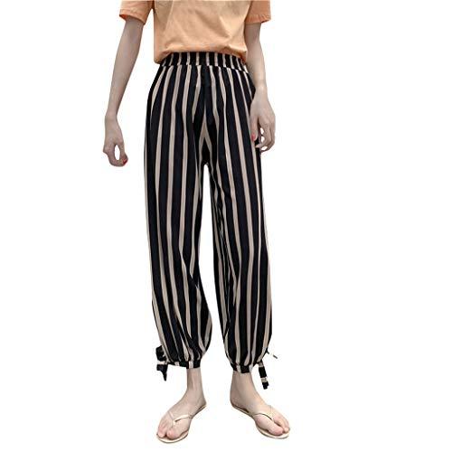 - QueenMM Casual Loose Chiffon Boho Pants High Elastic Waist Polka Dot Lightweight Summer Harem Pants Beige