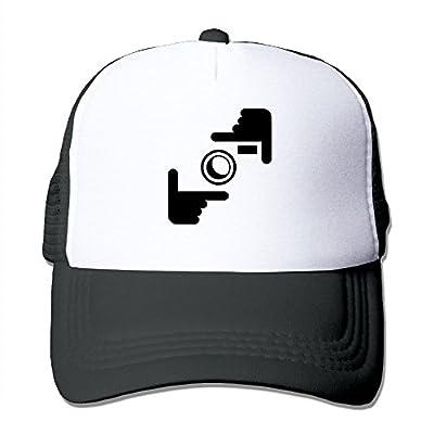 Wiongh Opp Mesh Baseball Cap Unisex Adjustable Trucker Style Hat Funny Hand Camera