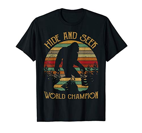 Retro Vintage Bigfoot Yeti Sasquatch Hide And Seek Tee - Grandpa Youth T-shirt
