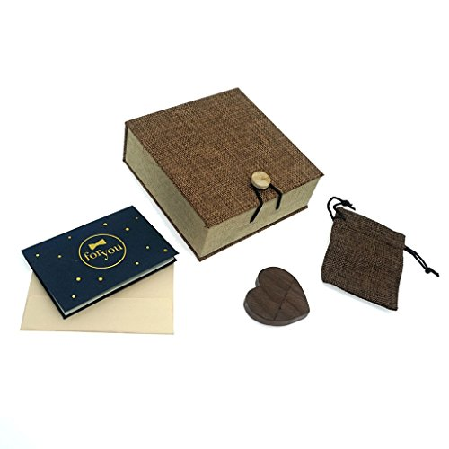 LONMAX Real Capacity 16GB Wooden Heart USB Flash Memory Stick Pen Drive(16GB, Walnut Heart+Linen)