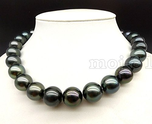 Huge 18MM Genuine Black South Sea Shell Pearl Round Beads Necklace 18