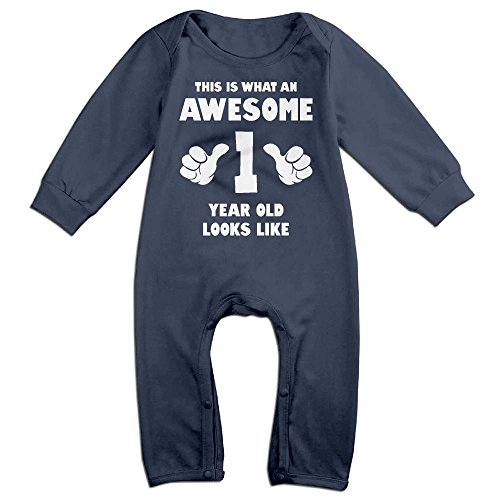 12 Month Old Costume Ideas (Baby Infant Romper This Is What An Awesome 1 Years Old Looks Like Long Sleeve Jumpsuit Costume Navy 12 Months)