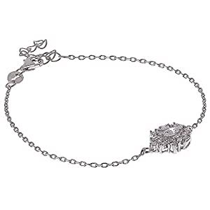 AK Jewels 925 Silver Drop Shape Baguette Bracelet For Women