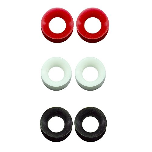 "BodyJewelryOnline 3 Pairs of Thin Silicone 1/2"" inch Glow in The Dark Flexible Ear Skin Tunnels Red/White/Black"