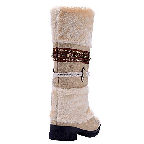 Odema Womens Beige Fully Winter calf Flat Pom Boots Fur Mid Lined Pom Snow rrwHSdq