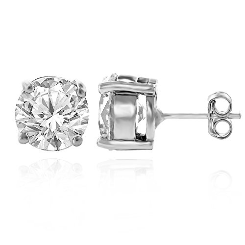 Sterling Silver Brilliant Cut Clear Round CZ Solid 925 Rhodium Prong Set Stud Earrings 4mm – 10mm