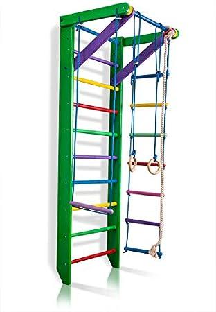 Dani Ri-02-220 - Barras de pared (87 en madera), diseño de escalera sueca, barra de dominadas, anillos para colgar, cuerda de trapeto, escalera, terapia física, utilizado en hogares, gimnasios, escuelas clínicas, Verde: