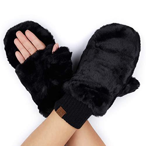 Hatsandscarf C.C Exclusives Women Thick Knit Faux Fur Sherpa Fleece Lined Warm Winter Gloves Mittens (Faux Fur-Black)