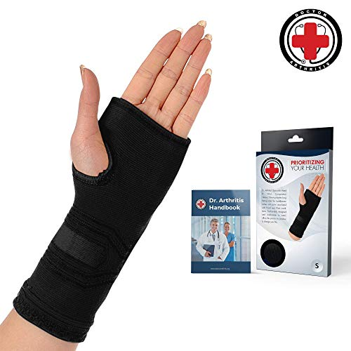 Doctor Developed Wrist & Hand Compression Sleeve/Support/Brace & Doctor Written Handbook - Palm Protector with Gel Pad, Optimum Comfort for Arthritis, Carpal Tunnel, RSI & More (Black, Small)