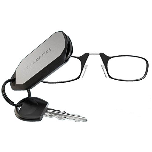 ThinOptics Reading Glasses + Keychain Case | Black Frames, 1.00 Strength - Amazon Bookstore Featured Product from ThinOptics
