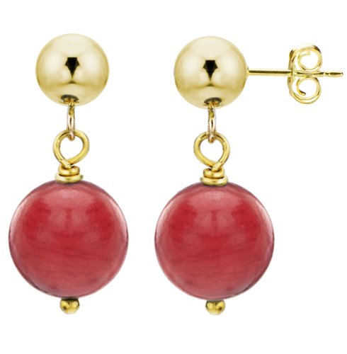 14k Yellow Gold with 8mm Simulated Red Coral Stud Dangle Earrings