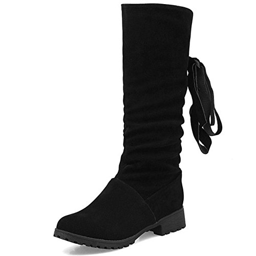 Boots Casual Black Flat Size Shoes High Women Extra TAOFFEN CwqIHH