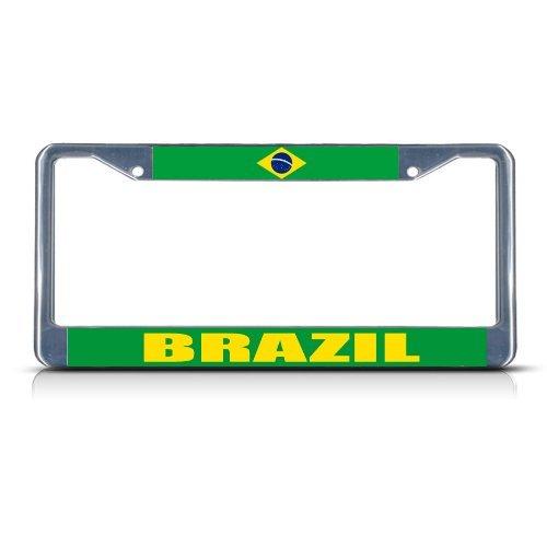 (License Plate Frame BRAZIL FLAG Chrome Heavy Duty Metal Tag Border)