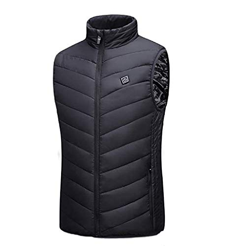 Yubenhong Electric Heated Vest Jacket Heating Coat for Men and Women USB Charging Vest Heated Clothes Jacket for Warmth Outdoor Work Ski Hiking (Black, XXL)