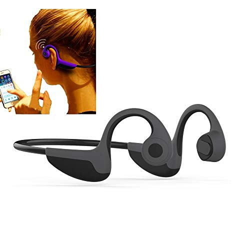 CANTANG 2018 Newest Bone Conduction Headphones Wireless Bluetooth V5.0 Sports Headsets Earbuds HiFi Music Stereo with Mic Sweatproof for Hiking Cycling Running Compatible with iOS Android Grey