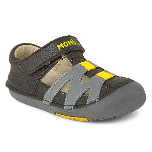 Momo Baby Boys First Walker Toddler Mason Leather Sandals Shoes - 8 Black/Gray
