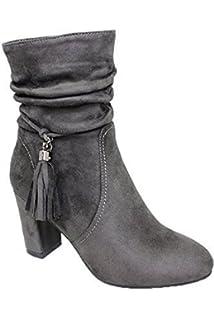 Saphir Boutique Damen elastisch niedrig Block Klobiger Absatz Kunstwildleder Chelsea Stiefeletten - Brandy/braun, 6 UK