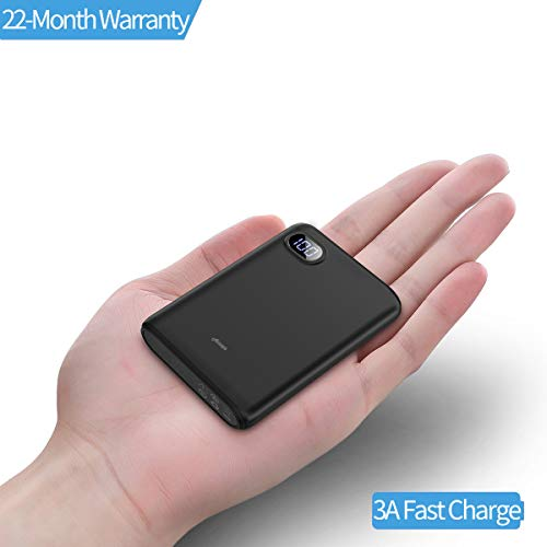 10000mAh Portable Charger,(Smallest) (LCD Display) (Powerful) Ainope External Battery Pack/Battery Charger/Phone Backup Power Bank with Dual USB Output(3.1A),Perfect Carry for Travel-Black by Ainope